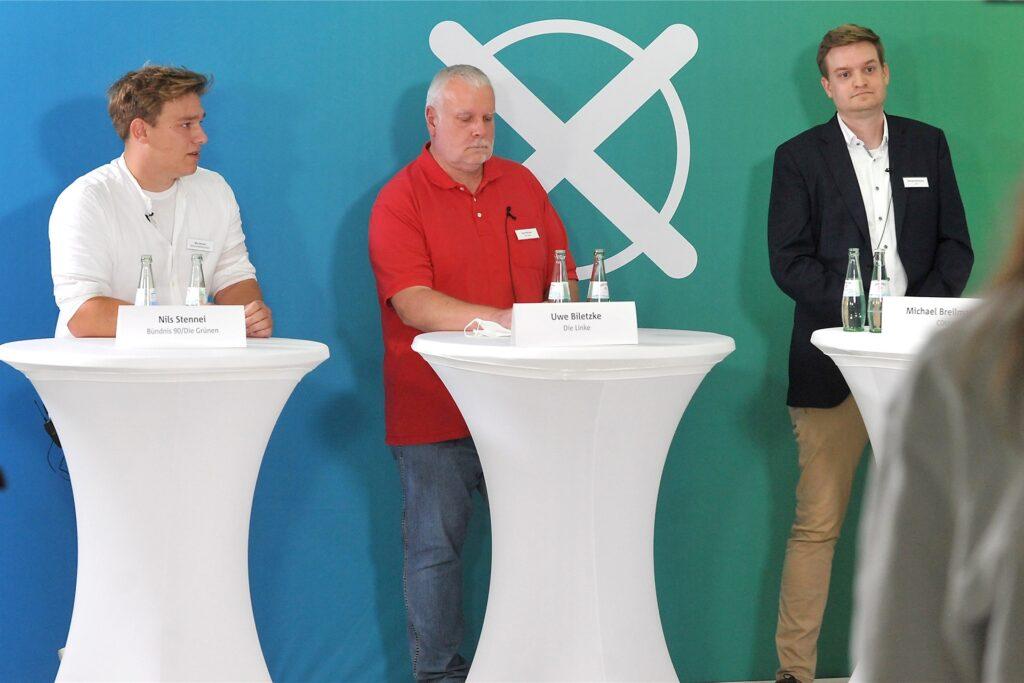 Nils Stennei (Grüne), Uwe Biletzke (Linke) und Michael Breilmann (CDU) während der Debatte